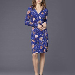 Diane Von Furstenberg Blue Floral Wrap Dress NWT